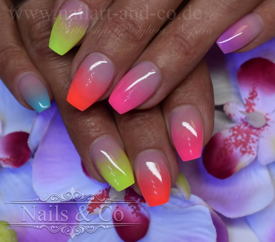 Neon Ombrè Nails